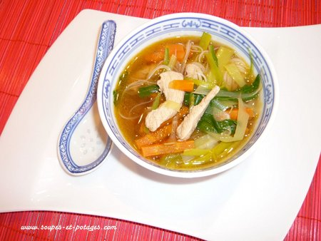 Potage Pak-choï et poulet Thaï